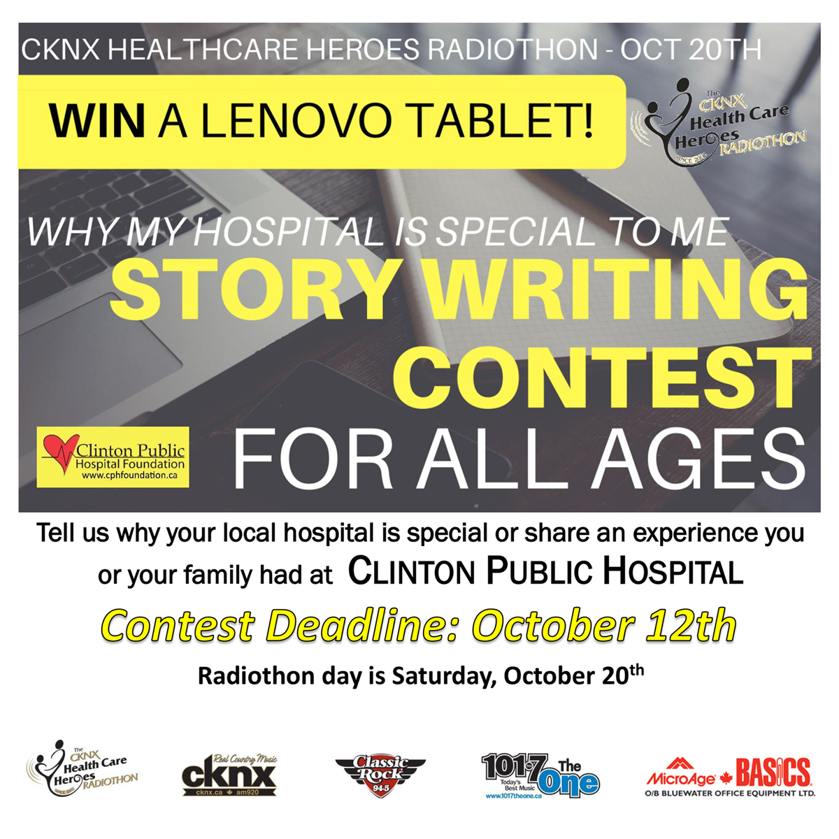 STORY WRITING CONTEST for CKNX Healthcare Heroes Radiothon